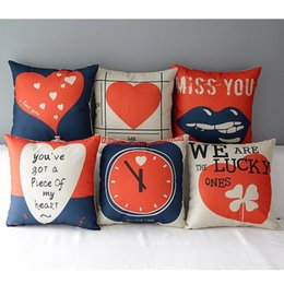 45cm Red Heart Clock Valentine Day Cotton Linen Fabric Throw Pillow 18inch Handmade New Home Office Bedroom Decoration Sofa Back Cushion