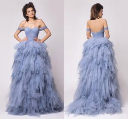 Ice Blue Off Shoulder Evening Gowns 2016 Tulle Ruffles Tiered Prom Gowns Sweep Train Backless Formal Party Dresses Custom Made