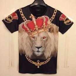 Wholesale 2015 Men s D t shirt Animal print Casual fashion short sleeve t shirt loose tshirt hip hop beauty tiger leopard Lion