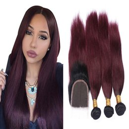 Ombre Straight Wine Red Hair 3 Bundles With Lace Closure Dark Root Ombre #1B 99J Burgundy Hair Weaves With Top Closure