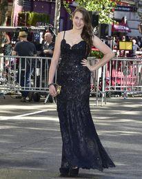 Wholesale 2016 Tony Awards Celebrity Dresses Leah Lane Beaded Lace Applique Spaghetti Strap V Neck Sheath Long Red Carpet Evening Prom Gowns
