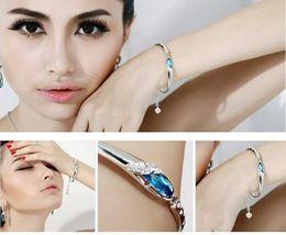 2016 Selling New Fashion Elegant 925 Sterling Silver Bracelet Women Elegant Sapphire Crystal Bracelets Fine Jewelry Gift box Wholesale