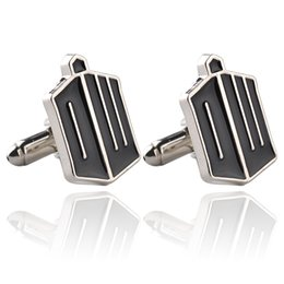 United Kingdom Television Doctor Who TARDIS Black Enamel Cufflinks For Mens Shirt Brand Cuff Buttons Top Grade Party Cuff Links 0903820-5