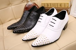 Men shoes rivet men's Italy dress leather Oxford Shoes men Black White Leather Oxford Shoes Zapato women male Size10.5