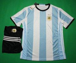 Wholesale 16 Argentina home red football jersey thai quality designer soccer kit set short sleeve soccer uniform men s sport uniforms