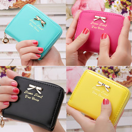 Colorful Women Lady Mini Faux Leather Bowknot Coin Purse Zip Around Wallet Card Holders Women' Female Handbag Clutch Bags