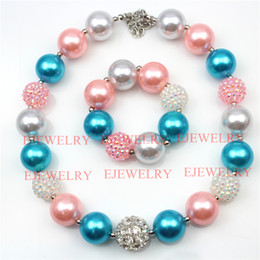 fashion jewelry alloy rhinestone beads pink blue white pearl beads chunky girl bubblegum kids Necklace&bracelet set for party gifts CB732