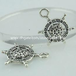 Wholesale 14648 Alloy Antique Silver Vintage Mini Compass Rudder Nautical Pendant