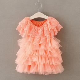 Discount ruffles cakes - Baby Girl Tulle Lace Dress 2016 New Cake Tutu Layered Dress Baby Girl Shawl Princess Party Dress Girls Ruffle Dress Elegant Baby Dresses