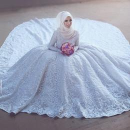 Novias musulmanes vestidos simples en Línea-Modesta Saudita musulmanes vestidos de novia de manga larga vestido de novia Vestidos de novia Said mhamad Fro de cuello alto cordón lleno con el tren