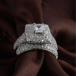 Wholesale Size Majestic Sensation Women s K white gold filled Square Simulated Diamond CZ Paved Wedding Ring Sets