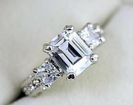 18K White Gold Plated Sparkly Austrian Zirconia Rhinestone Rectangle Luxury Lady Wedding Ring