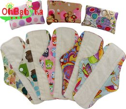 Wholesale OhBabyKa Brand Organic Bamboo Inner Washable Reusable Feminine Hygiene Menstrual Pads Sanitary Pads Lady Cloth Pad