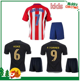 Wholesale 16 Madrid Kids boy kit Jersey GRIEZMANN home away F TORRES childrens football shirt soccer Atletico