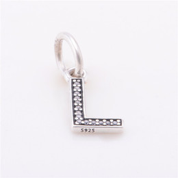 Wholesale Alphabet style letter charms S925 original sterling silver fits for european pandora style charms bracelets LE13L