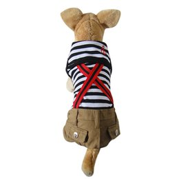 Wholesale 2016 Hot high quality Cute Puppy Pet Products Dog Lapel Clothes Striped Red and white Pant Jumpsuit Puppy Clothes Dog Apparels