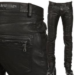 Wholesale Man Balmain Jeans Pu Leather Classic Slim Fit Paris Kanye West Balmain Biker Jeans Original Quality Real Photos