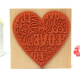 Wholesale-Top Quality Heart Shape Blocks Wooden Rubber Stamp Craved Printing Stamp Wood DIY Craft School Scrapbooking Decor