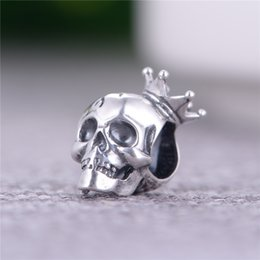 Wholesale 2016 Halloween Gifts Fashion Sterling Silver Skull with Crown Charms DIY Beads For Pandora Bracelet and Necklace Fine Mens Jewelry T166