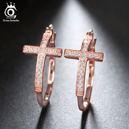 Silver Rose Gold 18K Gold Plated Hoop Earrings for Women Large Cross Loop Paved Shiny Austrian Crystal Fashion Jewelry OE142
