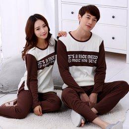 Wholesale Hun cotton pajamas couple long sleeved casual suit Home Furnishing cotton pajamas men fall