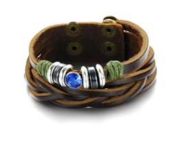 Crystal Inlay PONK Style Rock ROll Jewelry Leather Bracelet Hip pop bangle Blue Crystal Diamond personality Woven Bracelet Leather Bracelet