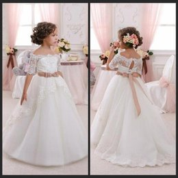 Wholesale Ball Gown Lace Beach Flower Girl Dresses Glitz Pageant Dresses For Little Girls First Communion Dresses For Girls