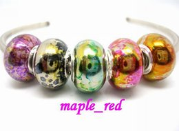 Wholesale Spray Paint Jewelry - 100PCS Lot Fashion mixed spray paint Print Shiny Acrylic Charms Silver core European Big Hole Beads for Jewelry Making Low Price