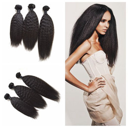 Mongolian Kinky Straight Hair 3pcs Human Hair Bundles No Shedding No Tangle Unprocessed Coarse Yaki Hair Weave G-EASY
