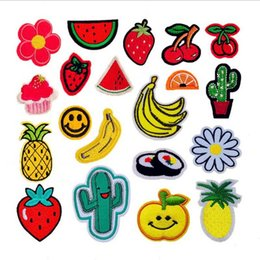 Wholesale New Embroidered Cherry Flowers Banana Watermelon Fruits Sew on Small Patch for Clothing Hat Shoes Bag Decorative DIY Accessories Appliqued