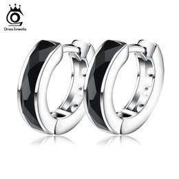 Wholesale Pendiente de calidad superior de la ágata negra pendientes Forme la plata esterlina en el platino plateado venta al por mayor de la joyería de la manera OE83