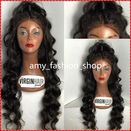 180 Density Virgin Full Lace Wig Middle Part Body Wave With Natural Hairline 8A Virgin Brazilian Human hair Lace Front Wigs For Black Women