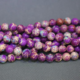 Jasper Natural Purple Stone Beads Gemstone Emperor Imperial Jasper Beads Round Smooth Beaded Wholesale Price Women Necklace Making Jewelry