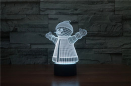 Snow Man New Style 3D Optical Lamp 10 LEDs Night Light 5th Battery DC 5V Colorful 3D Lamp Touch Control Switch