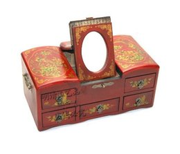 Wholesale cheap Chinese classical wedding antique jewelry box mirror jewelry box multifunction