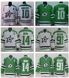 Wholesale 2016 Men s Dallas Stars Jamie Benn Tyler Seguin Patrick Sharp Green Home Premier white Jersey White Hockey Jerseys Stitched Jer