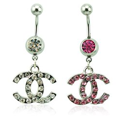 Wholesale Body Piercing Fashion Belly Button Rings Surgical Steel Barbells Dangle Style Rhinestone Letter Navel Rings Jewelry