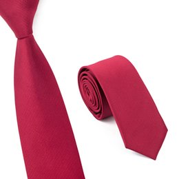 Mens Red Skinny Tie 6cm Width Silk Slim Ties Jacquard Woven Wedding Business Necktie Solid Color China Red E-001