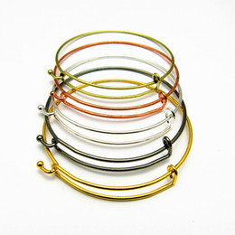 Hot Sale 50pcs Silver plated Expandable Adjustable Fashion Jewelry Wire Bangle Bracelet For Charms Free Shipping