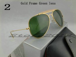 Wholesale Best Quality Designer Pilot Sunglasses For Mens Womens Outdoorsman Sun Glasses Eyewear Gold Green mm Glass Lenses With Box