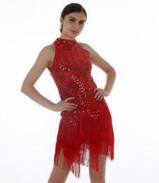 Wholesale Europe and America brand high quality bright red turtleneck dress skirt Fashionable tassel irregular dress dancing dress runway dresses