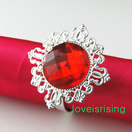 FREE SHIPPING-100Pcs high quality RED Gem Gem Vintage Style Napkin Rings Wedding Bridal Shower Napkin holder-- Free Shipping