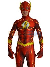 Free Shipping 2016 The New 52 Flash Costume 3D Shade Spandex Fullbody Male Flash Superhero Costume For Halloween And Cosplay Zentai Suit