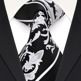 F30 Handmade Black White Stripes Floral Mens Ties Neckties 100% Silk Jacquard Woven Trendy Free Shipping