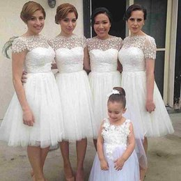 Wholesale Shorter Wedding Dresses For Boat - Cheap White Knee Length Bridesaid Dress 2016 Boat Neck A Line Tulle Lace Party Gown for Wedding Robe De Mariage