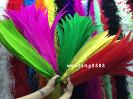 7 colors to choose 50pcs nature silver chicken feather 26-28inch 65-70 cm High quality Christmas decoration stage craft supplies