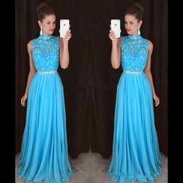 Light Sky Blue Prom Dresses Lace Beading Formal Long Bridesmaid Dress Ball Gowns With High Collar Zip Back Chiffon Fabric