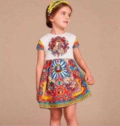 New 2016 noble big Girls print flower party Dresses Toddler Baby girls spring autumn dobby sleeveless dresses children kids clothing
