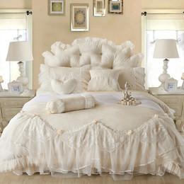 Wholesale Light white Jacquard Silk Princess bedding set silk Lace Ruffles duvet cover bedspread bed skirt bedclothes king queen size