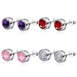 Wholesale High quality sterling silver earrings round diamond classic multicolor crystal Amethyst fashion jewelry for women stud earrings